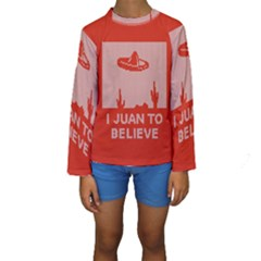 I Juan To Believe Ugly Holiday Christmas Red Background Kids  Long Sleeve Swimwear