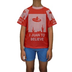 I Juan To Believe Ugly Holiday Christmas Red Background Kids  Short Sleeve Swimwear