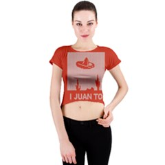 I Juan To Believe Ugly Holiday Christmas Red Background Crew Neck Crop Top