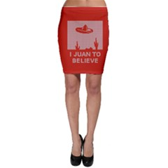 I Juan To Believe Ugly Holiday Christmas Red Background Bodycon Skirt