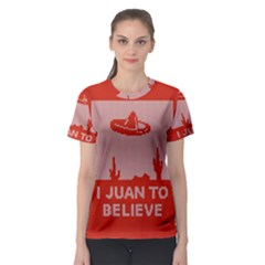 I Juan To Believe Ugly Holiday Christmas Red Background Women s Sport Mesh Tee