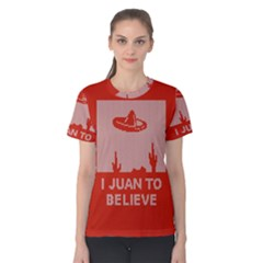 I Juan To Believe Ugly Holiday Christmas Red Background Women s Cotton Tee