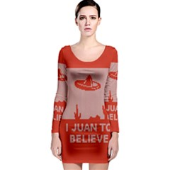 I Juan To Believe Ugly Holiday Christmas Red Background Long Sleeve Bodycon Dress