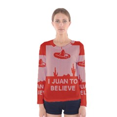 I Juan To Believe Ugly Holiday Christmas Red Background Women s Long Sleeve Tee