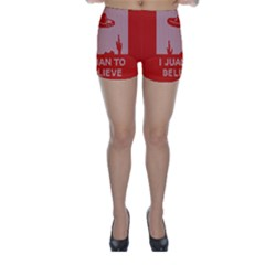 I Juan To Believe Ugly Holiday Christmas Red Background Skinny Shorts
