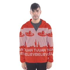 I Juan To Believe Ugly Holiday Christmas Red Background Hooded Wind Breaker (Men)