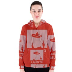 I Juan To Believe Ugly Holiday Christmas Red Background Women s Zipper Hoodie