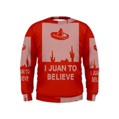 I Juan To Believe Ugly Holiday Christmas Red Background Kids  Sweatshirt