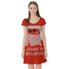 I Juan To Believe Ugly Holiday Christmas Red Background Short Sleeve Skater Dress