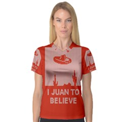 I Juan To Believe Ugly Holiday Christmas Red Background Women s V-Neck Sport Mesh Tee