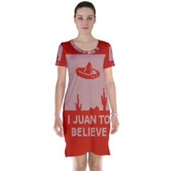 I Juan To Believe Ugly Holiday Christmas Red Background Short Sleeve Nightdress