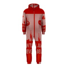 I Juan To Believe Ugly Holiday Christmas Red Background Hooded Jumpsuit (Kids)