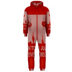 I Juan To Believe Ugly Holiday Christmas Red Background Hooded Jumpsuit (Men)