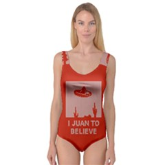 I Juan To Believe Ugly Holiday Christmas Red Background Princess Tank Leotard