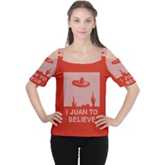 I Juan To Believe Ugly Holiday Christmas Red Background Women s Cutout Shoulder Tee