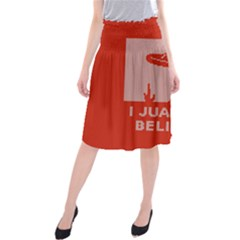 I Juan To Believe Ugly Holiday Christmas Red Background Midi Beach Skirt