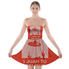 I Juan To Believe Ugly Holiday Christmas Red Background Strapless Bra Top Dress