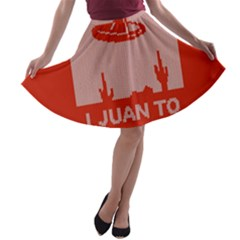 I Juan To Believe Ugly Holiday Christmas Red Background A-line Skater Skirt