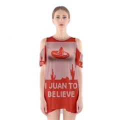 I Juan To Believe Ugly Holiday Christmas Red Background Cutout Shoulder Dress