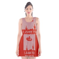 I Juan To Believe Ugly Holiday Christmas Red Background Scoop Neck Skater Dress