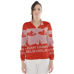 I Juan To Believe Ugly Holiday Christmas Red Background Wind Breaker (Women)