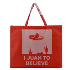 I Juan To Believe Ugly Holiday Christmas Red Background Zipper Large Tote Bag