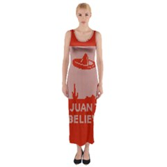 I Juan To Believe Ugly Holiday Christmas Red Background Fitted Maxi Dress