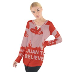 I Juan To Believe Ugly Holiday Christmas Red Background Women s Tie Up Tee