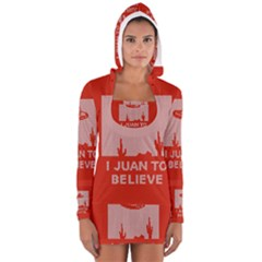 I Juan To Believe Ugly Holiday Christmas Red Background Women s Long Sleeve Hooded T-shirt
