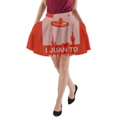 I Juan To Believe Ugly Holiday Christmas Red Background A-Line Pocket Skirt