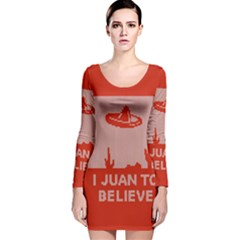 I Juan To Believe Ugly Holiday Christmas Red Background Long Sleeve Velvet Bodycon Dress