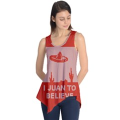 I Juan To Believe Ugly Holiday Christmas Red Background Sleeveless Tunic