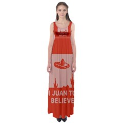 I Juan To Believe Ugly Holiday Christmas Red Background Empire Waist Maxi Dress