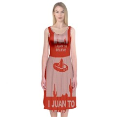 I Juan To Believe Ugly Holiday Christmas Red Background Midi Sleeveless Dress