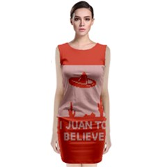 I Juan To Believe Ugly Holiday Christmas Red Background Classic Sleeveless Midi Dress