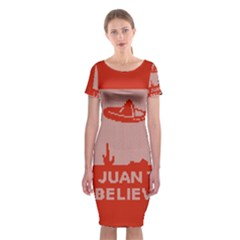 I Juan To Believe Ugly Holiday Christmas Red Background Classic Short Sleeve Midi Dress