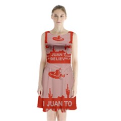 I Juan To Believe Ugly Holiday Christmas Red Background Sleeveless Chiffon Waist Tie Dress