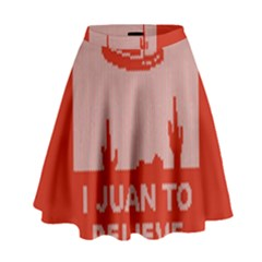I Juan To Believe Ugly Holiday Christmas Red Background High Waist Skirt