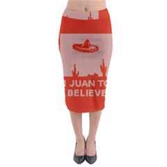 I Juan To Believe Ugly Holiday Christmas Red Background Midi Pencil Skirt