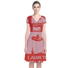 I Juan To Believe Ugly Holiday Christmas Red Background Short Sleeve Front Wrap Dress