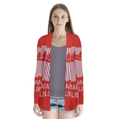 I Juan To Believe Ugly Holiday Christmas Red Background Drape Collar Cardigan