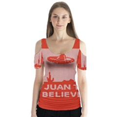 I Juan To Believe Ugly Holiday Christmas Red Background Butterfly Sleeve Cutout Tee