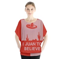 I Juan To Believe Ugly Holiday Christmas Red Background Blouse