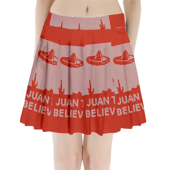 I Juan To Believe Ugly Holiday Christmas Red Background Pleated Mini Skirt