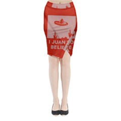 I Juan To Believe Ugly Holiday Christmas Red Background Midi Wrap Pencil Skirt