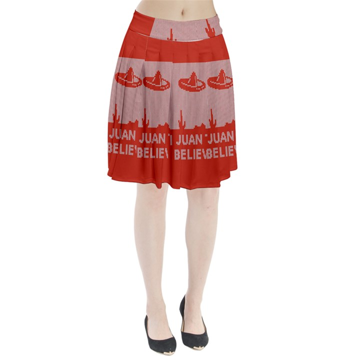 I Juan To Believe Ugly Holiday Christmas Red Background Pleated Skirt