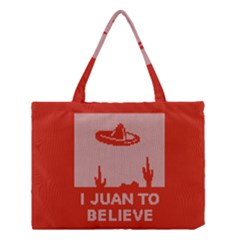 I Juan To Believe Ugly Holiday Christmas Red Background Medium Tote Bag