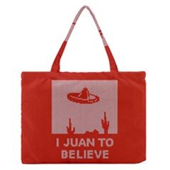 I Juan To Believe Ugly Holiday Christmas Red Background Medium Zipper Tote Bag