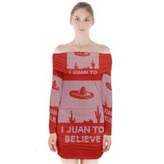 I Juan To Believe Ugly Holiday Christmas Red Background Long Sleeve Off Shoulder Dress