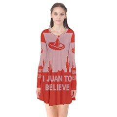 I Juan To Believe Ugly Holiday Christmas Red Background Flare Dress